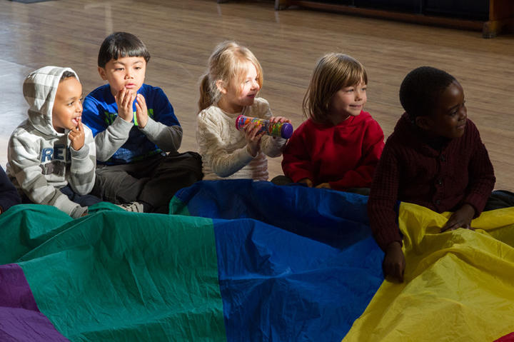 Parachutes and rainsticks: young children learn listening skills through play. Photo credit:Jane Hobson