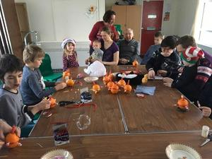 Polmont Friends making Christingles